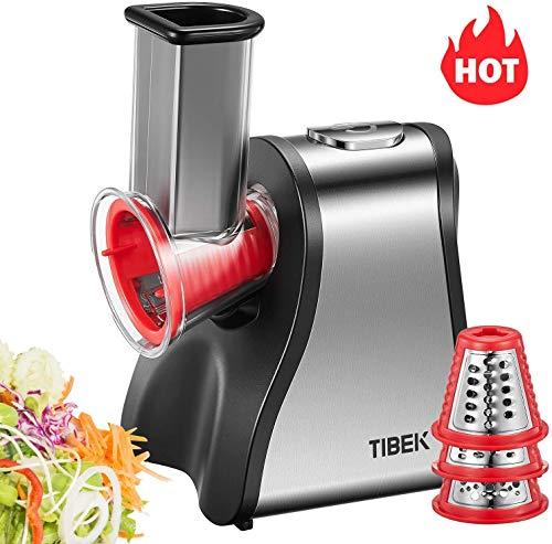TIBEK Gemüsehobel Elektrisch | 200W Elektrische Küchenreiben | Schnitzelwerk Elektrisch mit 5 Aufsätze | Küchenmaschine | Salatzubereiter | Zerkleinerer | Fruchtsmoothie - Rot