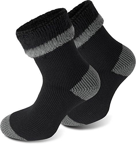 3 Paar Sehr warme POLAR HUSKY® Socken mit Vollplüsch und Schafwolle / Nie wieder kalte Füße! Farbe Extrem/Hot/Schwarz/Grau Größe 43/46