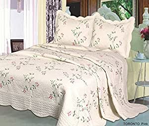 Toronto Pink 3 Piece Patchwork Floral Embroidered Victorian Traditional Stylish Luxurious Modern Design Quilted Bedspread With 2 Pillow Shams 100% Cotton Filling Ideal For Double & King Size Bedding Set by Quality Linen and Towels