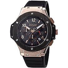 Megir Mens Chronograph Military Quartz Watch Black and Rose Gold Dial by MEGIR