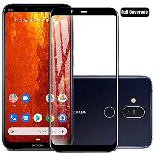 Voviqi Nokia 8.1 2018 Panzerglas, Hüllenfre&lich Vollständige Abdeckung Schutzfolie gehärtetem Glas Folie Blasenfrei Volle Abdeckung Bildschirmschutzfolie für Nokia 8.1 2018 (Schwarz)