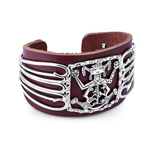 Fritz Casuse Brown Leather Spirit Figure Cuff Bracelet, Medium -