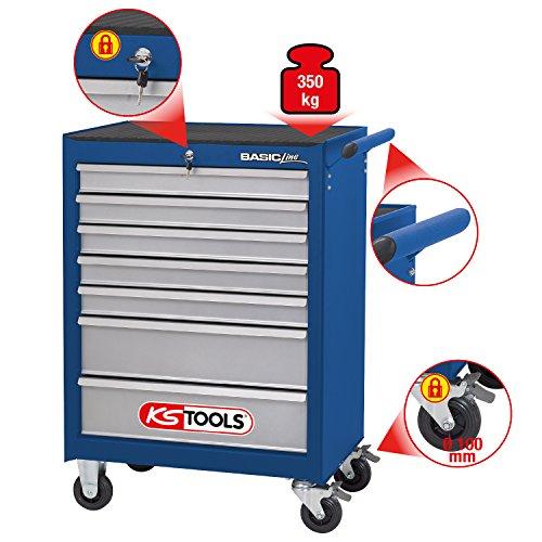 KS Tools 837.0007 BASICline Werkstattwagen, mit 7 Schubladen, blau/silber - 2