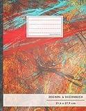 """Zeichen- & Skizzenbuch: DIN A4 • 100+ Seiten, Softcover, Register, """"Rote Leinwand"""" • Original #GoodMemos Blanko Heft • Perfekt als Zeichenheft, Sketchbook, Handlettering"""