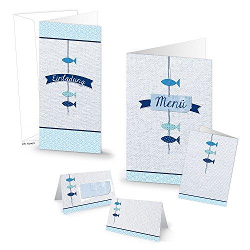 64-Teile-Set Einladungskarten (20 Stück), Tischkarten (32 Stück) und Menükarten (12 Stück) für 30 Gäste -