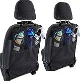 Design61 Kickmatte Auto Organizer Kinder KFZ Rücksitztasche Rückenlehnenschutz Rücksitzschoner Autositz Schutzmatte Utensilientasche mit 2 Netztaschen 1 Stck.