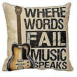 Aprettysunny 1Kissen Fall Vintage Kissenbezug Gitarre Kissenbezüge Where Words Fall Music Speaks Zitat Überwurf 18x 18