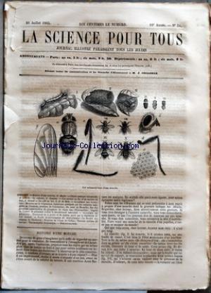 SCIENCE POUR TOUS (LA) [No 34] du 20/07/1865 - HISTOIRE D'UNE MOUCHE PAR F. H+ÑFER CHIMIE PRATIQUE INDUSTRIELLE ET AGRICOLE - LE CARBONE PAR G. JOUANNE LES NAVIRES EN FER ET LES NAVIRES EN BOIS PAR J. GIRARD LE CAFE AU LAIT PAR L.-F. DE HOLE ACADEMIE DES SCIENCES - MEMOIRE SUR LA TREPANATION CEPHALIQUE PRATIQUEE PAR LES MEDECINS INDIGENES DE L'AOURESS, PROVINCE DE CONSTANTINE - DU CANAL DE MARSEILLE - SUR DES GISEMENTS CONSIDERABLES DE PHOSPHATE DE CHAUX DANS L'ESTREMADURE - EMPLO par Collectif