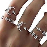 Leisial 5 Stücke Boho Midi Ring Set Damen Ringen Vintage Nagel Ringen Fingerring Set Sterne Ring Mond 1.5-1.7cm