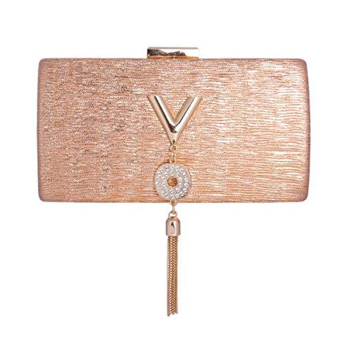 Damara® Damen Clutch Falten Buchstaben Abendtasche Mit Metall Quaste Champagner