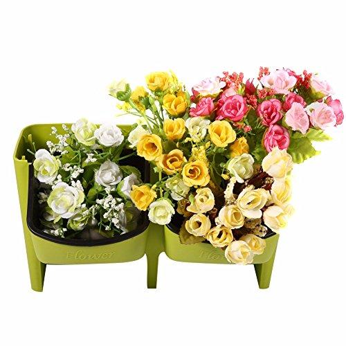 REFURBISHHOUSE 2 Taschen Fettpflanze Wandbehang Vertikale Blumentopf Haus/Garten Indoor Blumentopf Pflanzen Taschen Wand Pflanzer Topf gruen