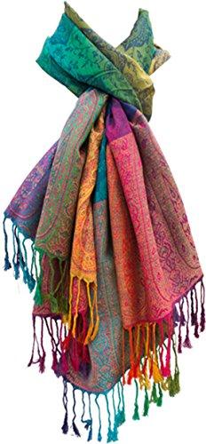"Damen Schal""Marokko"" Regenbogen-Farben Pashmina Kunst-Seidenschal - Viskose CV/Polyester PES – xxl 180 x 60 cm bunt/mehrfärbig"