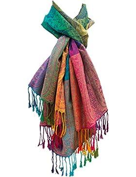 Damen-Tuch Pashmina Regenbogen-Farben Schal Stola Seidentuch Paisley Marokko Kopftuch Halstuch Schultertuch –...