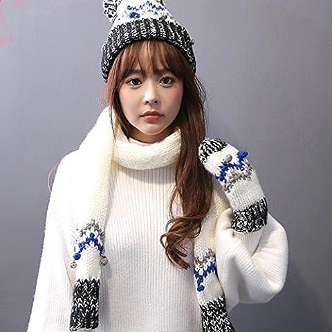 Inverno Autunno ispessimento caldo maglieria tre pezzi Guanto Cappello Sciarpa , white