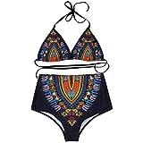 TWIFER Dashiki African Neckholder Bikini Push-Up Strand High Waist Hose Badeanzug