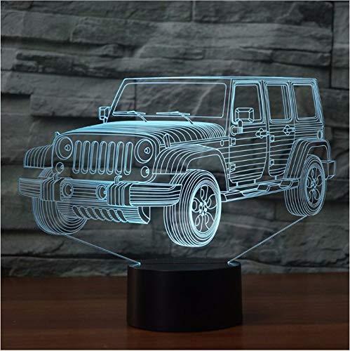 Nachtlicht Led Auto Nachtlicht Gradienten Jeep Form Usb Bett Schlafzimmer 3D Tischlampe Usb Indoor Decora Atmosphäre Lampe (Jeep Bett)