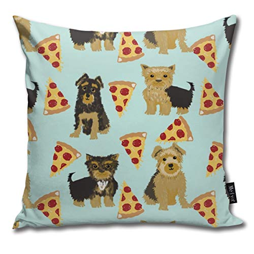 Yorkie Pizza, Yorkshire Terriers Pizza Funny Cute Dog Novelty Food Print for Yorkie Owners Best Dogs for Home Dec Comfortable Soft Bed Pillow Case Household Pillow Case Office Bolster 18x18 Inches - Yorkie Food Dog