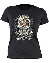 Damen T-Shirt Tag der Toden Totenkopf Floral skull Blumen Sugar Skull Tattoo feminines Shirt : )