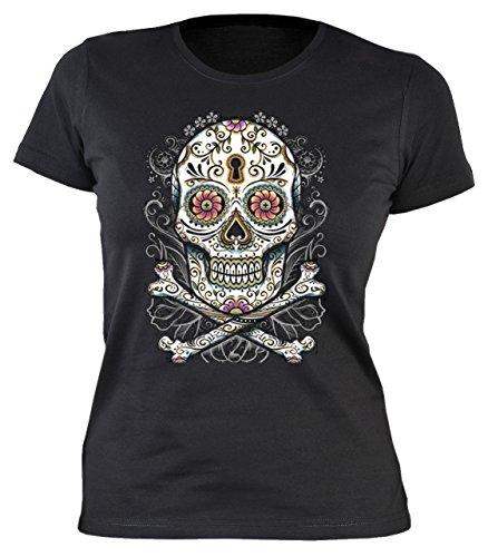 Damen T-Shirt Tag der Toden Totenkopf Floral skull Blumen Sugar Skull Tattoo feminines Shirt Gr. L : (Muerte La Kostüme)