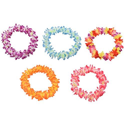 7thLake 5 Stück/Satz Hawaii Blumenkette Sets-Hawaii Blumen Halskette für Kinder & Erwachsene Beach Thema Party Decoration