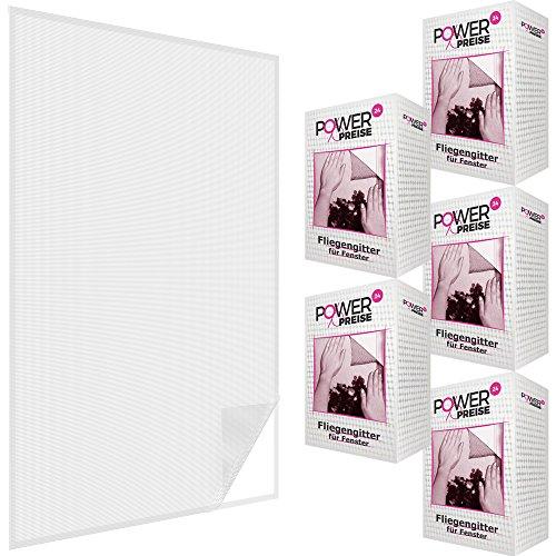 Fliegengitter für Fenster 130 x 150 cm in weiß inkl. Klettband Moskitonetz 1x 2x 3x 4x 5x Sparpack individuell kürzbar Fliegennetz wetterfest & reißfest, Menge:5er Set