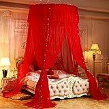 DUOYIZI Lusso zanzariera per letto a baldacchino per tende per bambine e adulti Principessa camera da letto Decorazione Sistema di installazione facile Cute drappeggio accogliente (Rosso)
