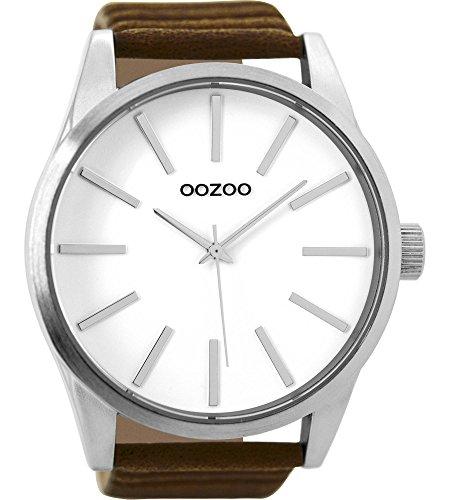 Oozoo Herrenuhr mit Lederband 50 MM Weiss/Dunkelbraun C9410