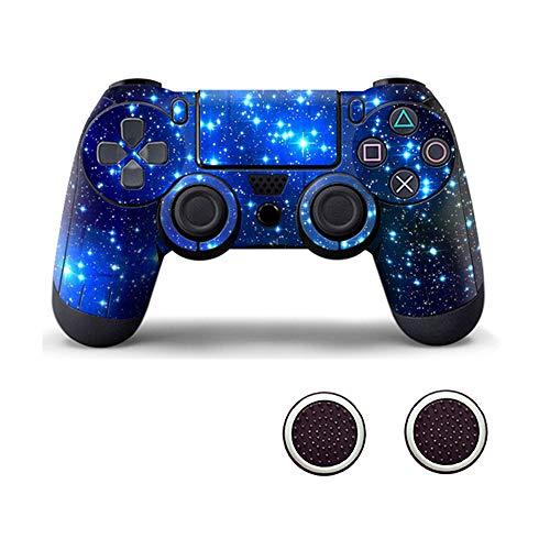 ller mit Zwei Daumengriffkappen aus Silikon für PS4 Blau/Sterne ()