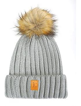 longclass Gorro de mujer pompón bomboleo muy suave de llevar, Fein verarbeitete Gorro de invierno con pompón para...