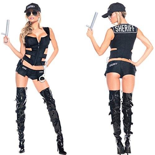 Nihiug Halloween Cos European Cool Polizistin Cosplay Polizei Kostüm Sexy Persönlichkeit Humor Tanz Performance Schreckliche Jugendliche,A