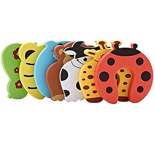 Lot de 7 butées de porte protection anti pince-doigt pour la sécurité des enfants, dessins colorés d'animaux. Coussinets de butée de porte en mousse pour la sécurité des bébés et des enfants
