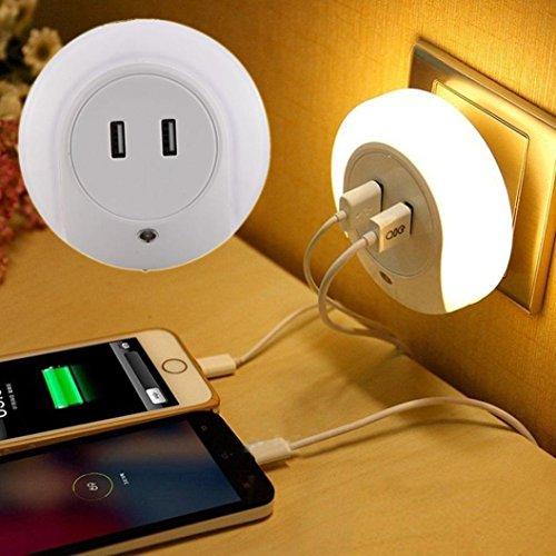 LED-Lichtsteuerung Nachtlicht Dual-USB-Nachttischladegerät Lichtsensor Steuerung Ladegerät + Nachtlicht (Weiß) (Lavendel Kinderzimmer Lampe)