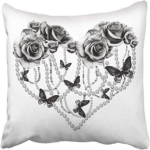 Fhdang decor graziosa federa per cuscino, quadrata, con rose e cuori neri, con motivo floreale, per la festa del papà