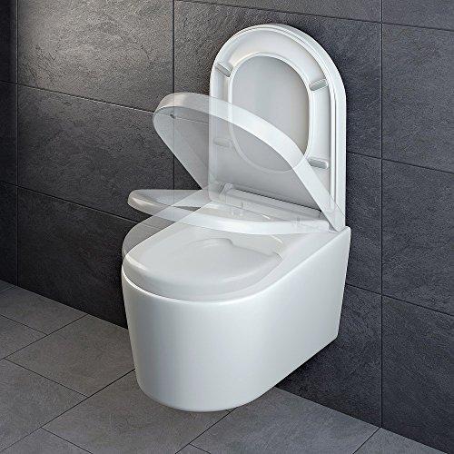 Design Wand Hänge WC ohne Spülrand Spülrandlos Toilette Sitz Softclose hängend 6 - 6