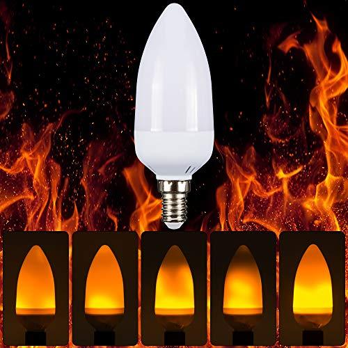 BLOOMWIN Flamme Glühbirne LED Flamme Lampe E14 3W Flacherlicht bewegliche Feuer Birne Flackerkerze Ersatzlampe 1500K Warmweiß 2PCS