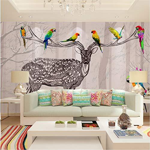 VVNASD 3D Wand Wandbilder Tapete Aufkleber Dekorationen Hirsch Serie Wohnzimmer Hintergrund Schlafzimmer Shop Kunst Kinder Schlafzimmer (W) 300X(H) 210Cm