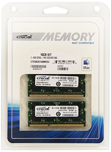 Crucial 16GB Kit DDR3 1600 MT/s SODIMM 204-Pin Mémoire pour Mac - CT2C8G3S160BMCEU PDF