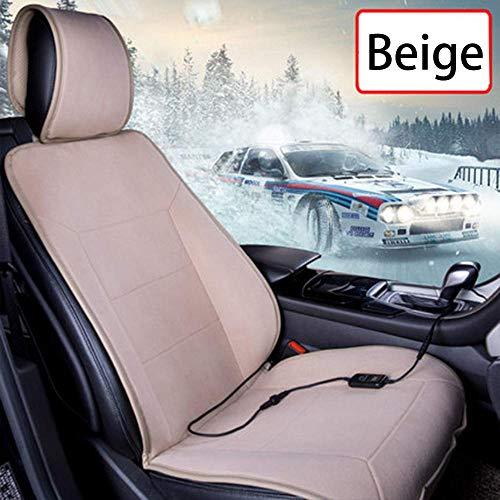 FKYUYU Sitzauflagen Auto Beheizbar 12 V Einzeltreiber Intelligent Thermostat Multifunktionale Sitzkissen Auto Heizung Massagekissen Vordere Reihe Universal Plüsch,Beige