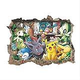 Hcxbb-f Wall Sticker, Monstre 3D Cartoon Poche, Mignon Drôle Pokemon Pikachu Stickers Cartoon Kids Room Decor, 60x45cm...