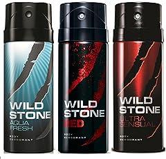 Wild Stone Aqua Fresh, Ultra Sensual and Red Mega Pack(200 ml x 3)