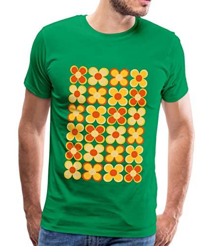 Spreadshirt 70er Jahre Blumen Männer Premium T-Shirt, 3XL, Kelly Green - 70er-jahre-kelly-grün