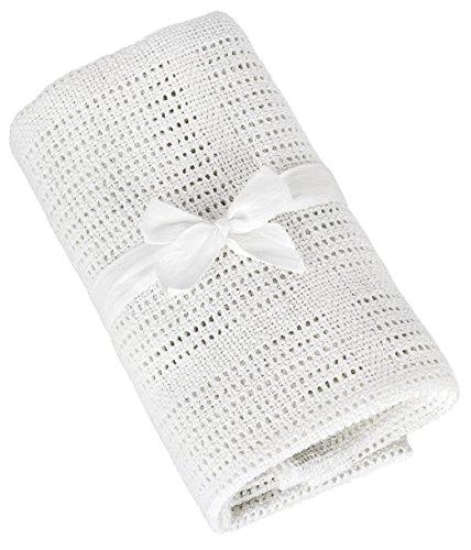 TALINU Baby-Decke aus 100 {a63e83cbb1b1ed384c3bdc9e4139616c200a4d93d927db2aa36037b1ef0ea068} Baumwolle mit süßer Geschenkschleife, Maße: 70 cm x 90 cm –Baumwoll-Decke, Kuschel-Decke, Strick-Decke