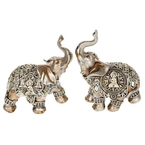Small Silver Decorative Buddha Elephant Ornament (45621)