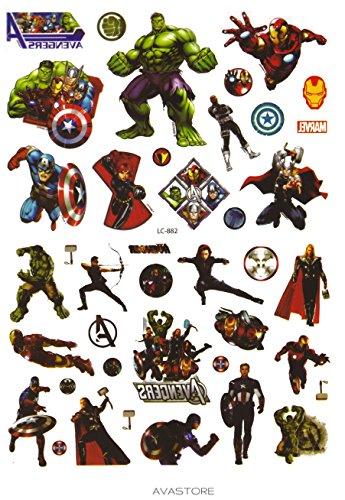 Temporäre Tätowierungen Super Helden Avengers-Tattoo flüchtig Super Helden Avengers-avastore (Die Avengers Superhelden)