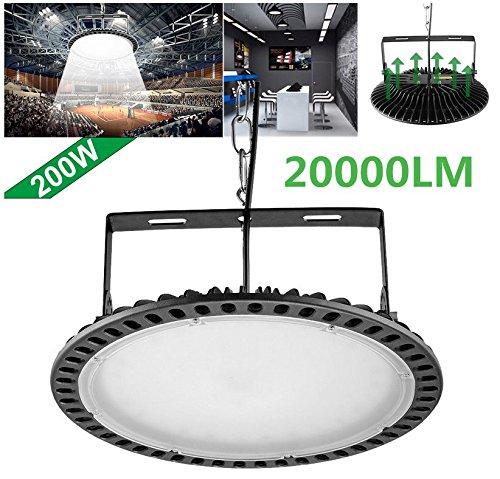 Ultradünnes UFO LED Hohes Bucht-Licht, Lager-Lampe, Industrieller Leuchter, 200W LED Flut-Lichter im Freien, Wasserdichtes IP65, Tageslichtweiß 20000LM 6000K AC220-240V (200W) (Bucht Licht Hohe)