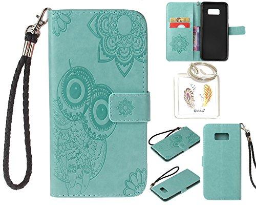 Preisvergleich Produktbild für Samsung Galaxy S8+ S8 Plus PU Leder Silikon Schutzhülle Handy case Book Style Portemonnaie Design für Samsung GalaxyS8+ S8 Plus + Schlüsselanhänger ( RDX (4)