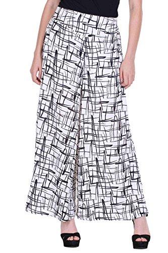 Deewa Women's Palazzo Pants DWP106W-XXL, Black and White, XXL