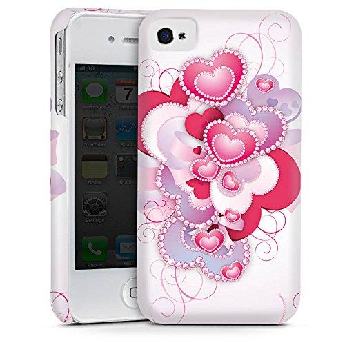 Apple iPhone 4 Housse Étui Silicone Coque Protection C½ur luxe Amour Motif Cas Premium mat
