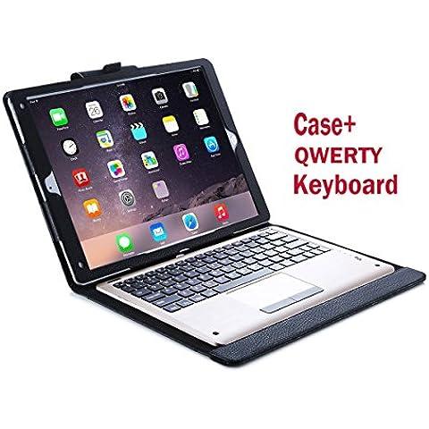 iHarbort® iPad Pro 12.9 Funda - ultra delgado ligero Funda de piel de cuerpo entero smart cover para iPad Pro 12.9+ con un teclado QWERTY Bluetooth (iPad Pro 12.9,