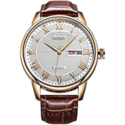 Mens Day Date Wrist Watches with White Dial Rose Gold Roman Numerals Brown Leather Strap SONGDU